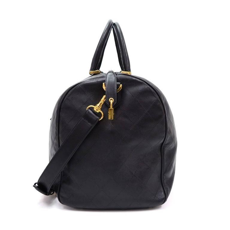 3513d4605928 Women s Chanel Black Caviar Leather Gold Hardware Duffle Weekender Travel  Shoulder Bag For Sale