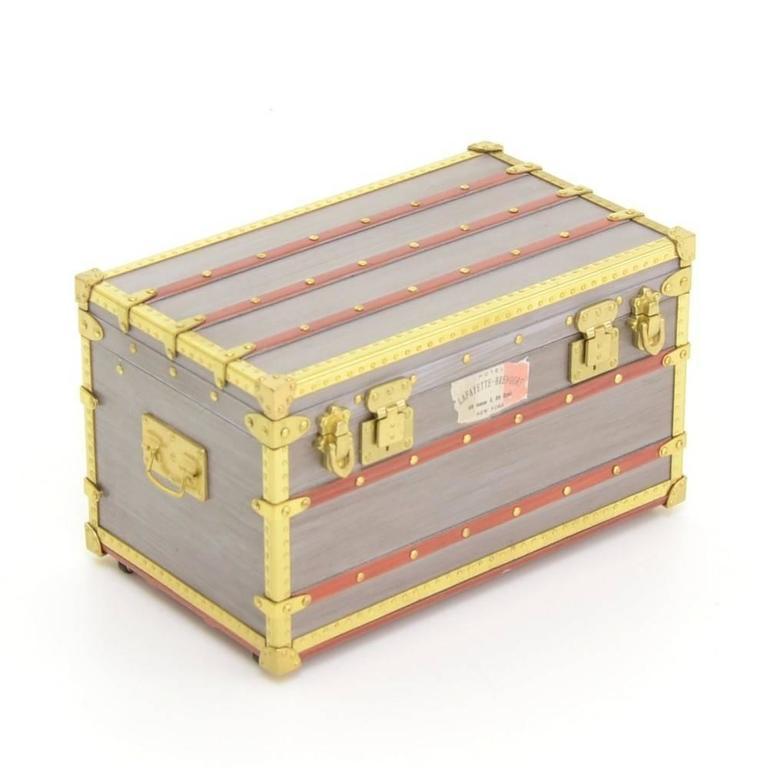 Louis Vuitton Limited Edition Malle Mini Trunk VIP Collectible Pill Jewelry Box  In Good Condition For Sale In Chicago, IL