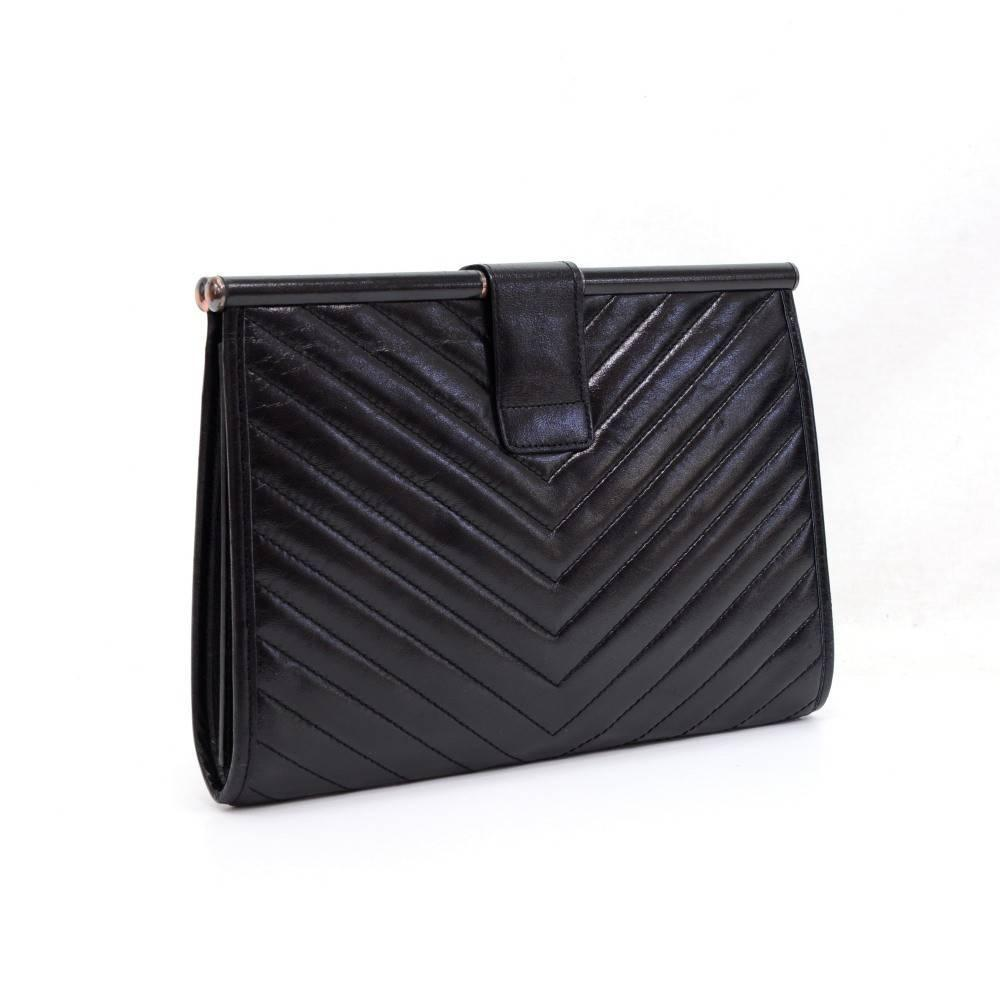 Yves Saint Laurent (YSL) Black Quilted Chevron Leather Envelope ...