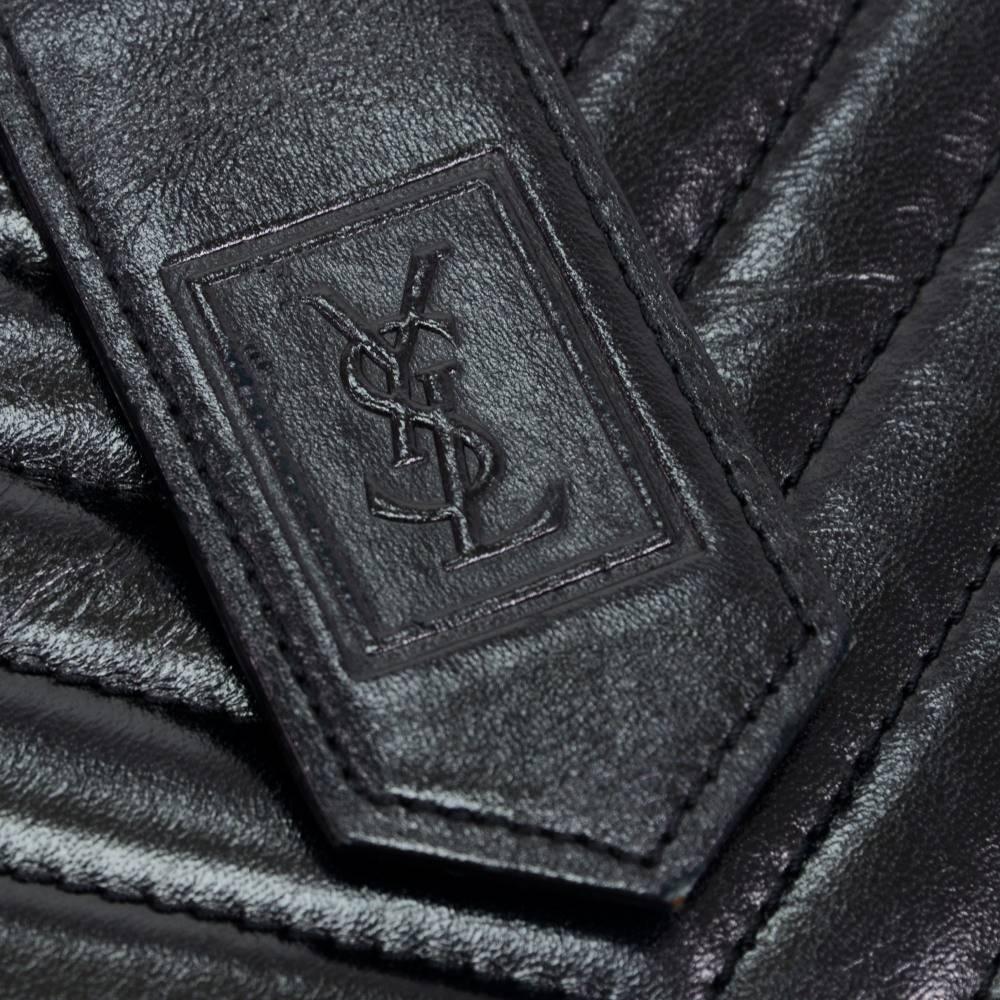 Yves Saint Laurent (YSL) Black Quilted Chevron Leather Envelope ...