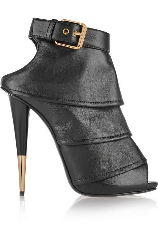 Giuseppe Zanotti Brand New Black Leather Ruffle Gold Stiletto Heels Ankle Bootie 3