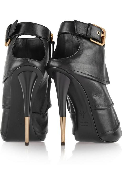 Giuseppe Zanotti Brand New Black Leather Ruffle Gold Stiletto Heels Ankle Bootie 5