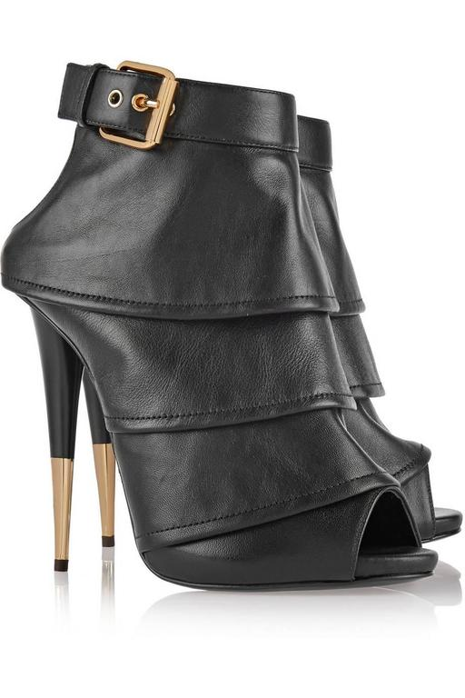 Giuseppe Zanotti Brand New Black Leather Ruffle Gold Stiletto Heels Ankle Bootie 4