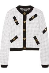 Moschino Boutique Polka Dot Black and White Gold Button Down Cardigan Sweater