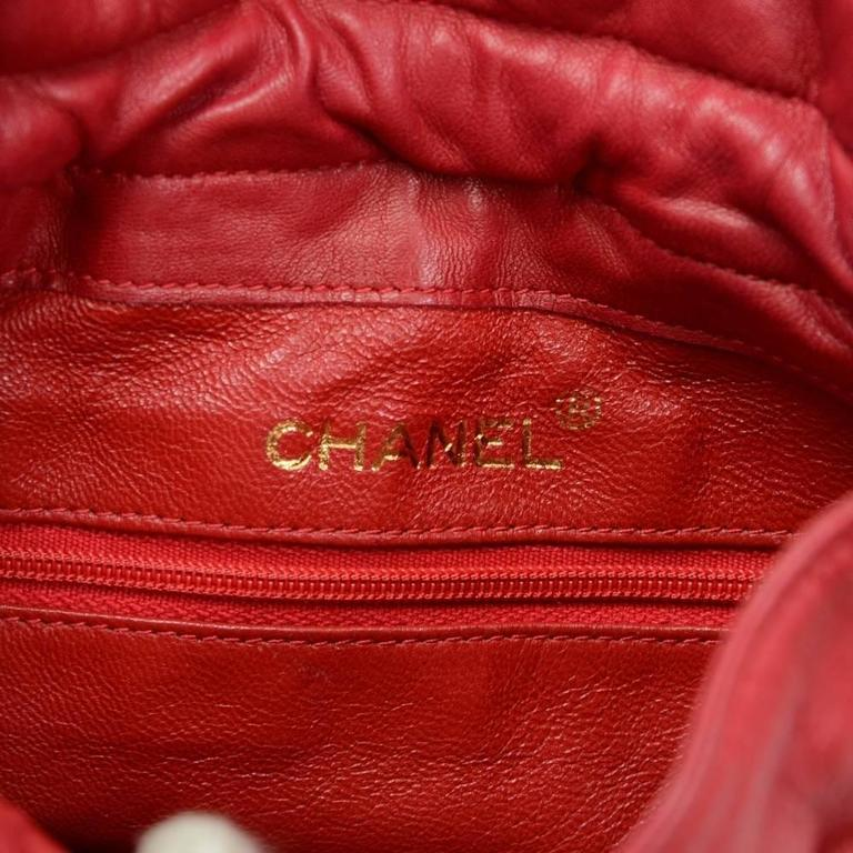 Chanel Rare Vintage Red Leather Satin Gold HW Bucket Evening Shoulder Bag 4
