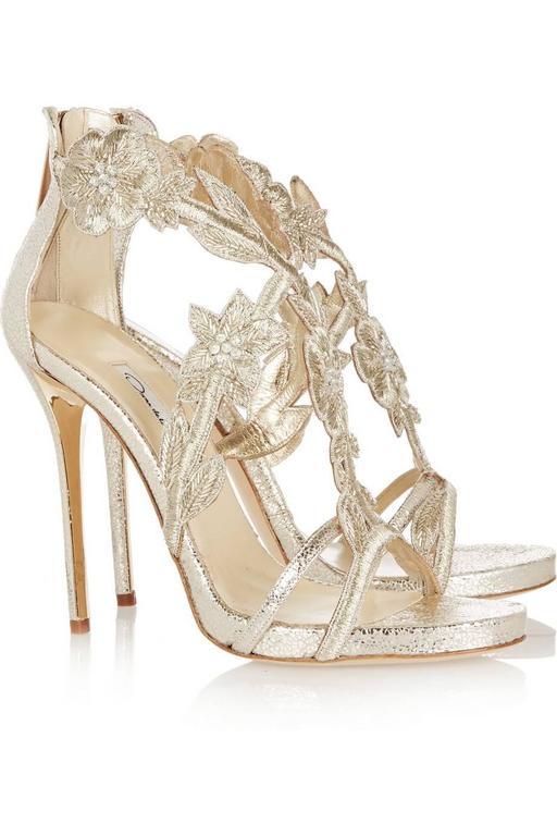 Women's Oscar de la Renta Silver Gold Metallic Leather Stiletto Sandal High Heels in Box For Sale