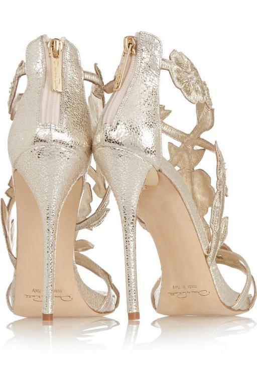 Oscar de la Renta Silver Gold Metallic Leather Stiletto Sandal High Heels in Box For Sale 1