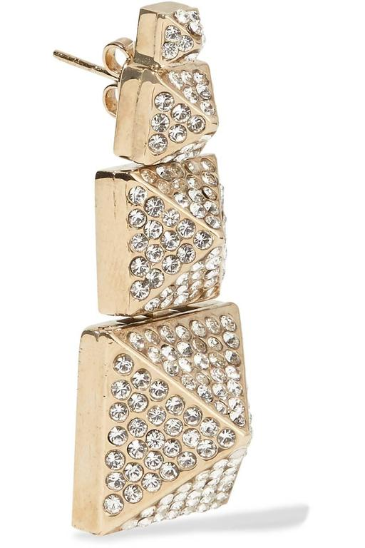 Valentino NEW Gold Crystal Stacked Chandelier Dangle Drop Statement Earrings 3