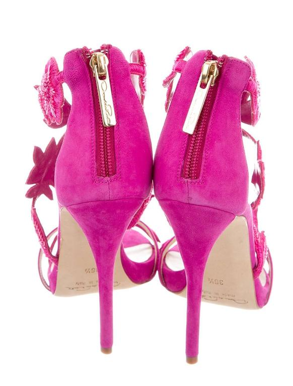 Oscar de la Rental NEW Pink Suede Bead Floral High Heels Sandals in Box 3