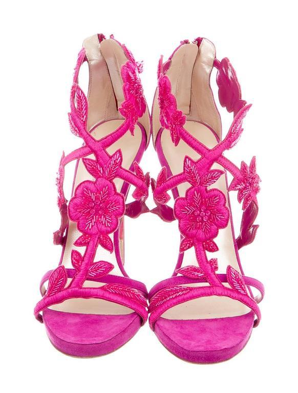 Oscar de la Rental NEW Pink Suede Bead Floral High Heels Sandals in Box 2