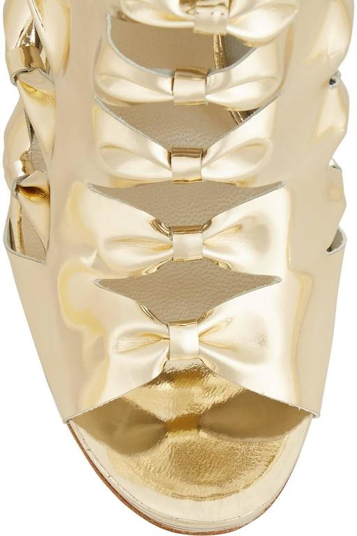 Oscar De La Renta New Gold Metallic Leather Bow Tie Cut