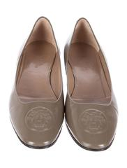 Hermes Gray Patent Leather Round Toe H Embossed Logo Flats Shoes