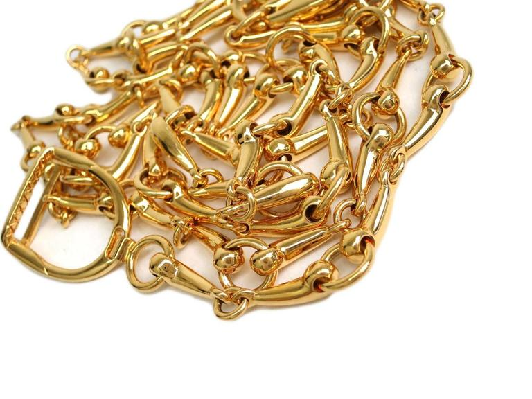 Gucci Gold Horsebit Double Strand Charm Logo Chain Link