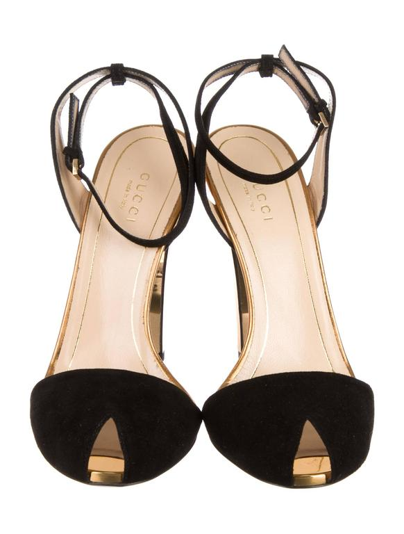 db952a4023f Gucci NEW Black Suede Gold Mirror Strappy High Heels Pumps in Box
