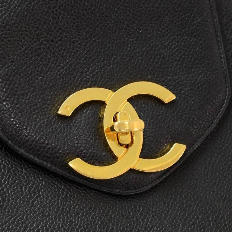 Chanel Vintage Black Caviar Gold Weekender Travel Shopper Tote Flap Shoulder Bag 2