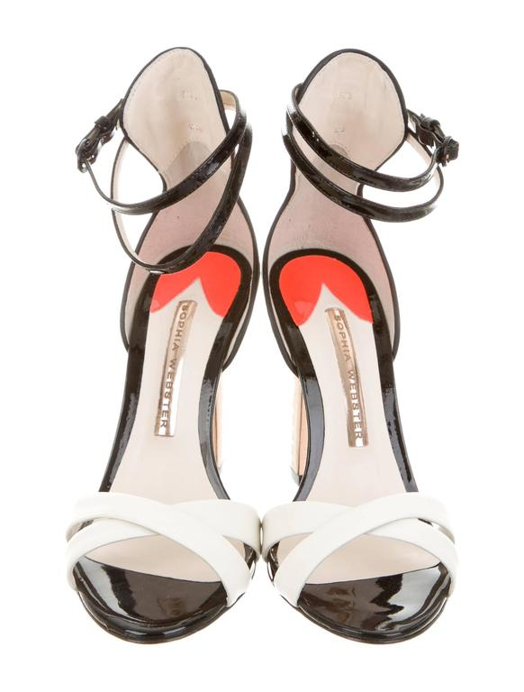 Beige Sophia Webster NEW White Black Coral Patent High Heels Strappy Sandals in Box For Sale
