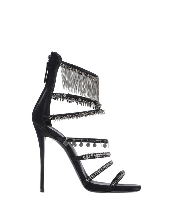 Giuseppe Zanotti NEW & SOLD OUT Black Silver Chain Link High Heels Sandals 2