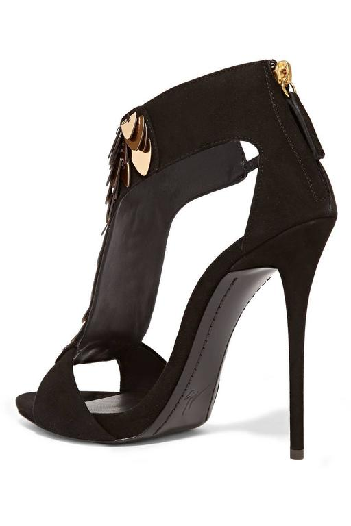 Women's Giuseppe Zanotti NEW Black Suede Gold Sequin High Heels Sandals For Sale