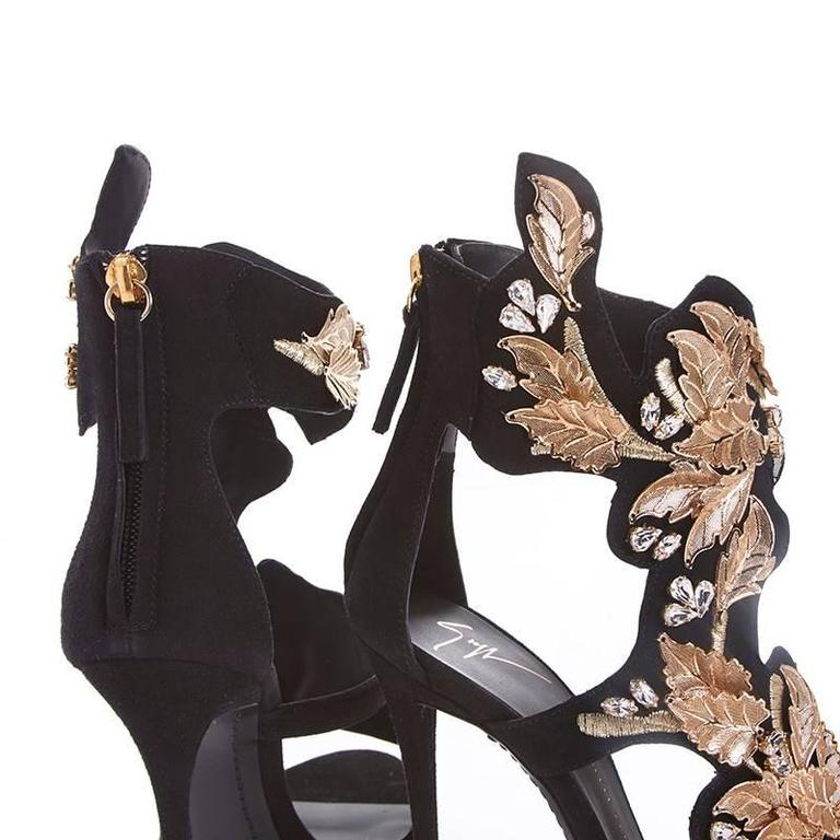 Women's Giuseppe Zanotti NEW SOLD OUT Black Suede Gold Leaf Rhinestone Heels in Box For Sale