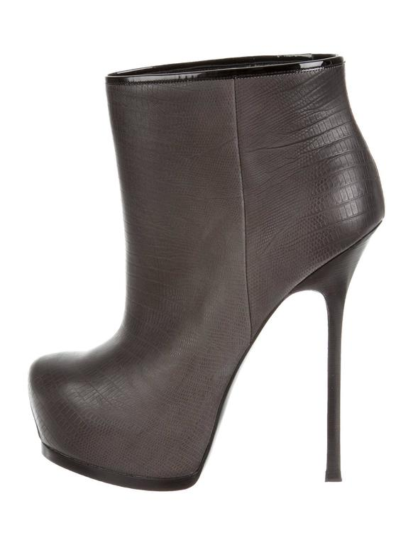 Ysl New Black Gray Leather Platform Heels Booties Boots In