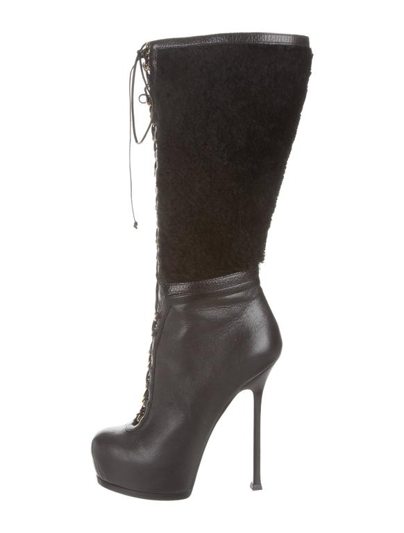 YSL NEW & SOLD OUT Black Leather Shearling Gold Lace Up Knee High Boots in Box 2