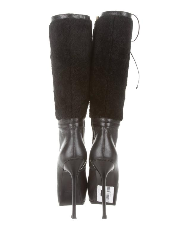 YSL NEW & SOLD OUT Black Leather Shearling Gold Lace Up Knee High Boots in Box 4