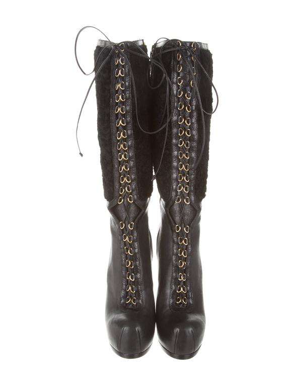 YSL NEW & SOLD OUT Black Leather Shearling Gold Lace Up Knee High Boots in Box 3