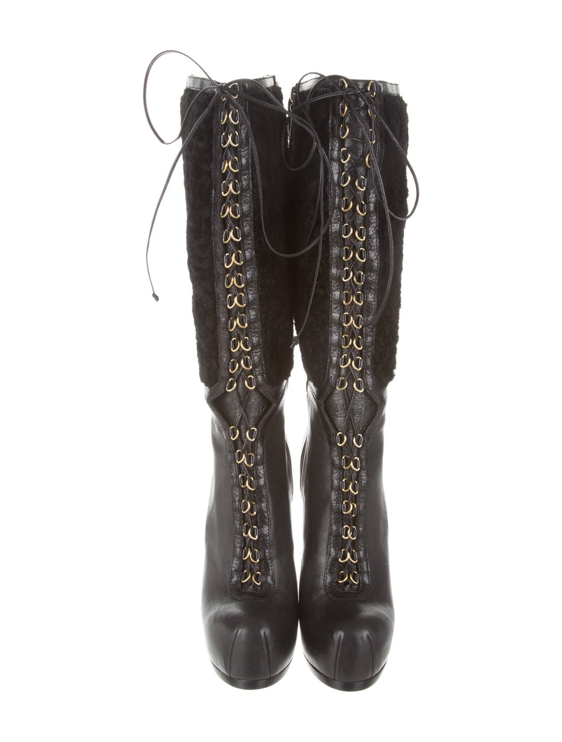 ysl new and sold out black leather shearling gold lace up