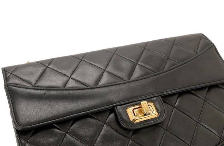 7f3d448ab7b4 CURATOR'S NOTES Chanel 2.55 Black Lambskin Quilted Gold Chain Flap Shoulder  Bag available at Newfound Luxury