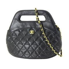 Chanel Black Lambskin Quilted Gold Chain Top Handle Satchel Crossbody Bag
