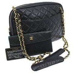 Chanel Vintage Camera Black Lambskin Gold Chain Shoulder Bag With Wallet