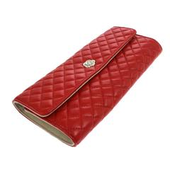 Chanel NEW Red Lambskin Camellia Jewelry Case Travel Clutch Bag Roll in Box