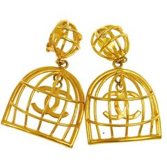 Chanel RARE Vintage Gold Large CC Cage Dangle Drop Earrings