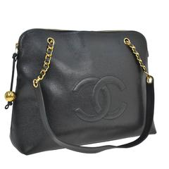 Chanel Black Caviar Leather Gold Chain Large Weekender Travel Shoulder Tote Bag