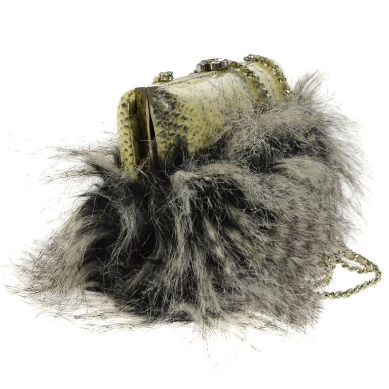 Chanel Rare Nude Fantasy Fur Crystal CC Evening Chain Shoulder Clutch Bag 3