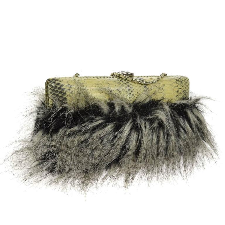 Chanel Rare Nude Fantasy Fur Crystal CC Evening Chain Shoulder Clutch Bag 4
