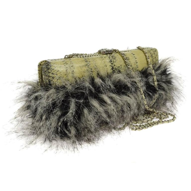 Chanel Rare Nude Fantasy Fur Crystal CC Evening Chain Shoulder Clutch Bag 1