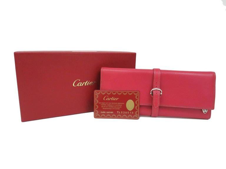 Cartier NEW Pink Leather Jewelry Vanity Travel Storage Clutch Case Bag in Box For Sale 2