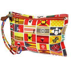 Hermes Rare Multi Color Silk Cosmetic Pouch Wristlet Baguette Clutch Bag
