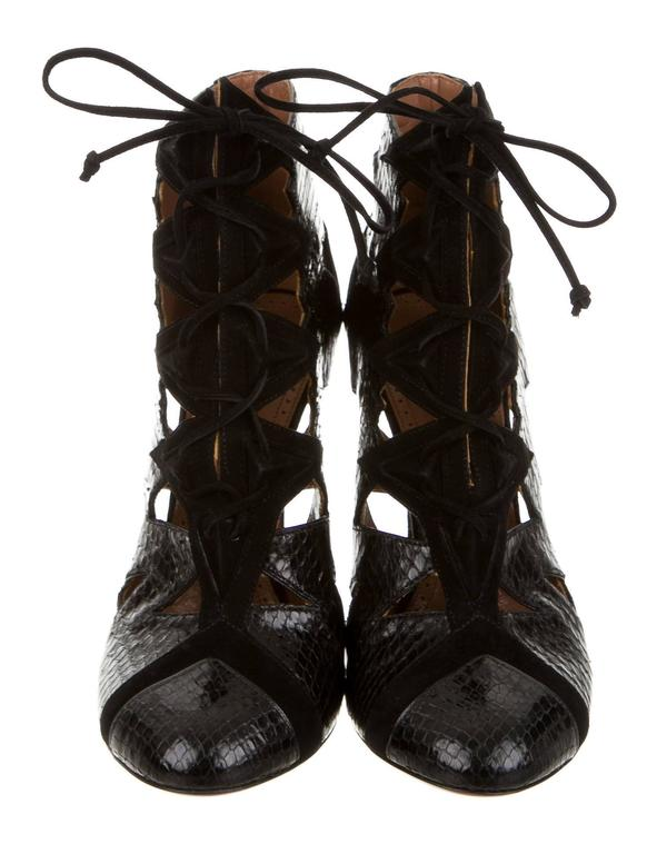 Women's Alaia NEW & SOLD OUT Black Leather Suede Laser Tie Up Ankle Boot Booties in Box  For Sale