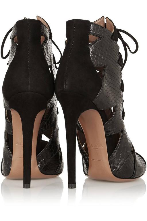 Alaia NEW & SOLD OUT Black Leather Suede Laser Tie Up Ankle Boot Booties in Box  For Sale 1