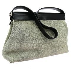 Hermes Speckled Colorblock Leather Palladium 'H' Top Handle Evening Shoulder Bag