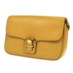 Hermes Vintage Mustard Leather Gold Hardware Crossbody Shoulder Bag