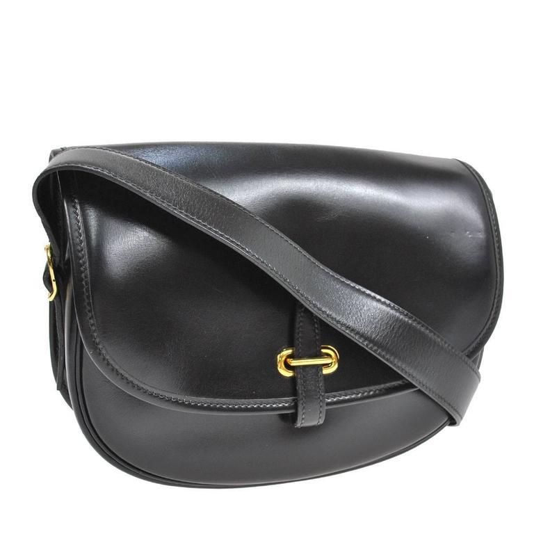 Hermes Vintage Black Leather Gold Hardware Evening Shoulder Crossbody Flap  Bag For Sale 4df3310597