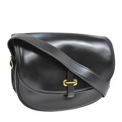 Hermes Vintage Black Leather Gold Hardware Evening Shoulder Crossbody Flap Bag