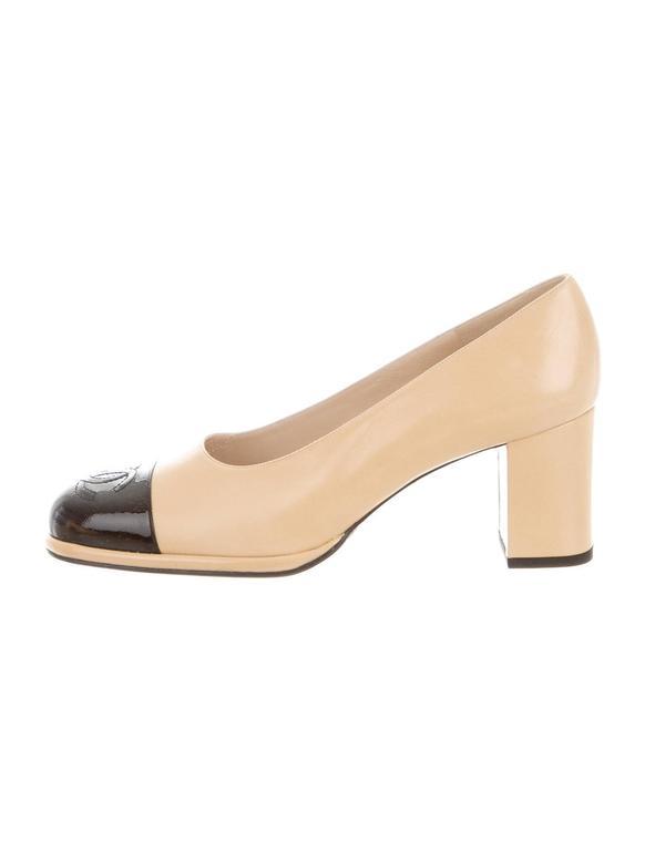 cbf2545bf6d Chanel NEW Beige Black Cap Toe Leather Patent CC Block Heels Pumps in Box  In New