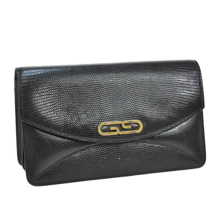 Gucci Black Embossed Leather Gold GG Evening Envelope Accordion ...