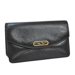 Gucci Black Embossed Leather Gold GG Evening Envelope Accordion Clutch Bag