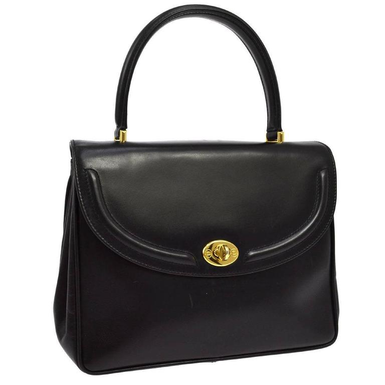 0957d1704fc6 Gucci Black Leather Gold Turnlock Top Handle Satchel Kelly Style Flap Bag  For Sale