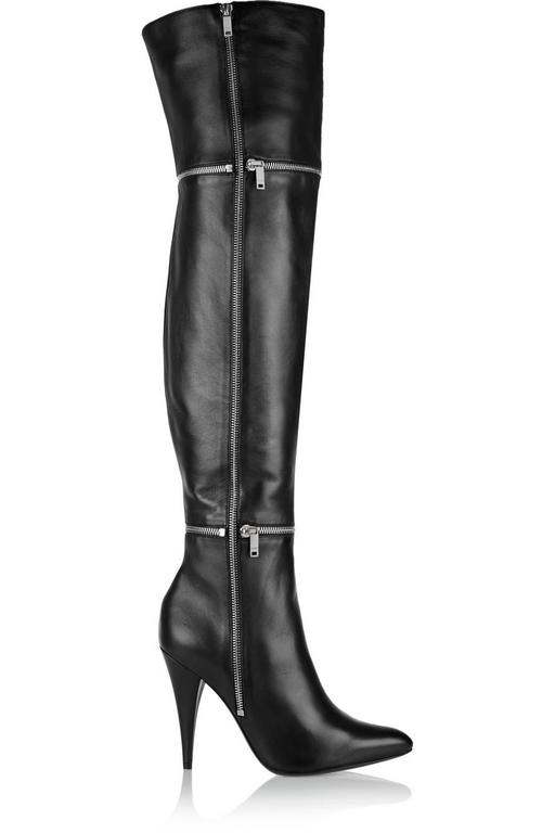 Women's Saint Laurent NEW Black Leather Zipper Over the Knee Heels Boots in Box For Sale